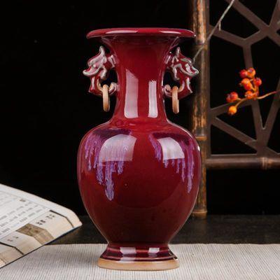 景德镇陶瓷器钧瓷仿古开片花瓶现代家居客厅装饰工艺品古典摆件正