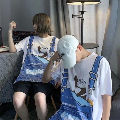 2020夏季新款书包短袖男精神小伙背心情侣短袖女学生韩版宽松上衣