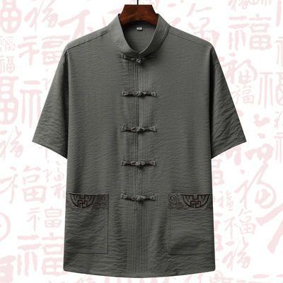 新款中老年人汉服男短袖唐装棉麻套装宽松爸爸夏装中国风男装爷爷