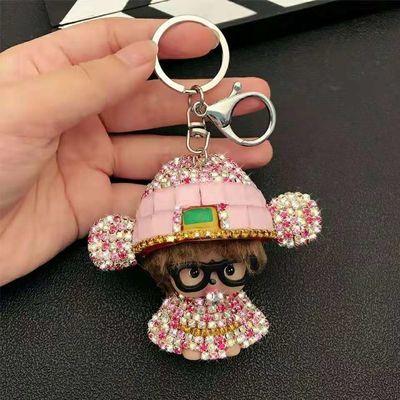 韩国网红创意卡通财神爷镶钻蒙奇奇汽车钥匙扣男女士包包钥匙挂件