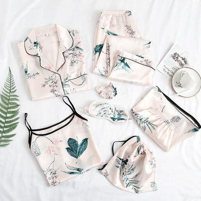 睡衣性感春夏季吊带仿真丝绸睡袍长袖三四件套装可爱冰丝女家居服