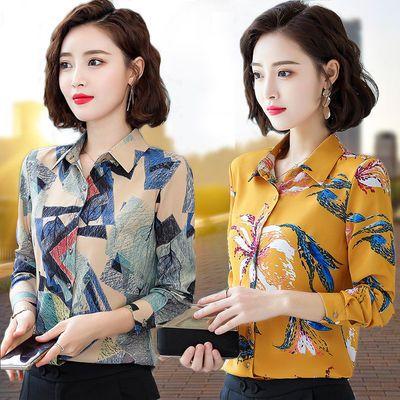 衬衫女长袖春夏装2020新款韩版中年妈妈印花衬衣短袖修身雪纺上衣