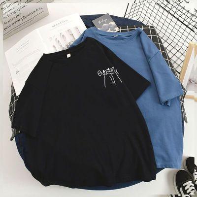 300斤胖mm纯棉t恤女短袖夏装韩版宽松加肥加大码200斤遮肚女上衣