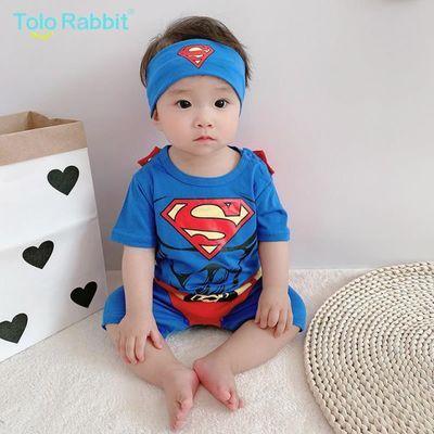 婴儿连体衣春秋6个月男宝宝衣服超人造型哈衣2岁儿童爬服春夏卡通