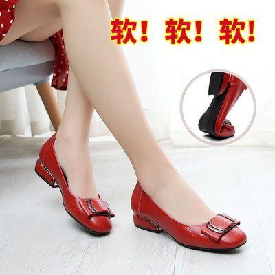 2020秋款头层牛皮单鞋女大码真皮中跟粗跟圆头软皮红色高跟工作鞋