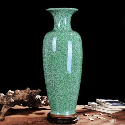 景德镇陶瓷大花瓶客厅落地仿古钧瓷家居装饰工艺品摆件摆设花瓶正