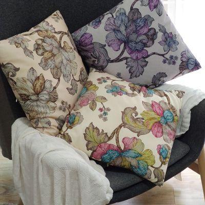 北欧风枕头三色堇几何拼贴靠垫ins沙发靠枕抱枕套飘窗卧室腰靠