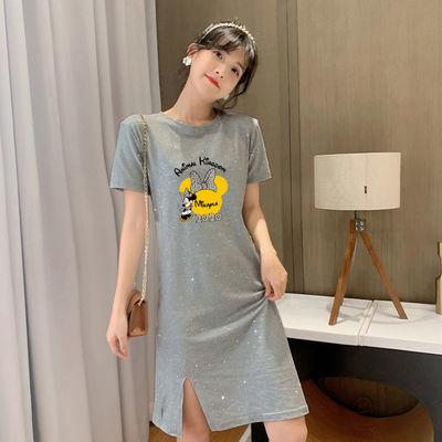 夏季新款韩版大码女装胖MM修身显瘦宽松学生短袖T恤中长款连衣裙