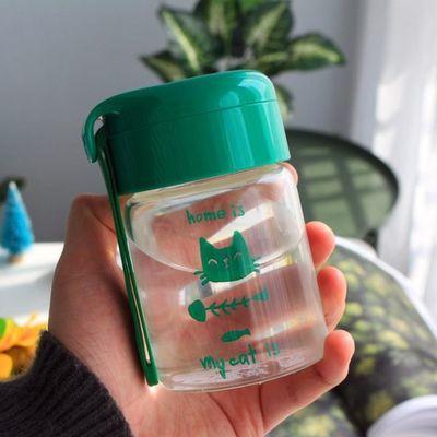猫咪可爱玻璃水杯女清新便携透明简约学生ins夏天带盖高颜值杯子