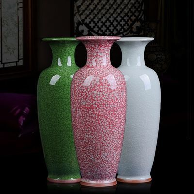 景德镇陶瓷器钧瓷仿古开片花瓶现代家居客厅摆设饰品工艺品摆件正