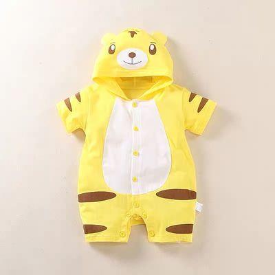 婴儿衣服夏季薄款0-2岁男女宝宝纯棉造型连体衣新生儿爬服可开档