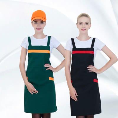 【尊贵】服务员围裙女餐厅超市双肩背带厨房工作厨师围裙D