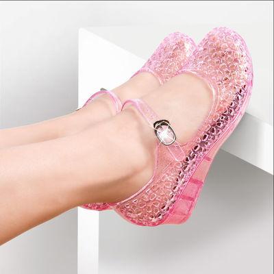 女鞋 清仓夏季女鞋子水晶凉鞋女坡跟中跟一字扣包头女中空果