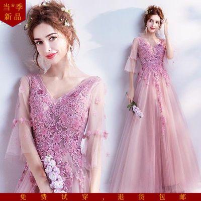 天使嫁衣梦幻花朵蔷薇粉色新娘婚纱敬酒服晚宴年会主持人礼服19