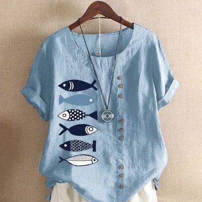 女士衬衫特价复古棉麻夏季短袖大码套头印花宽松百搭上衣