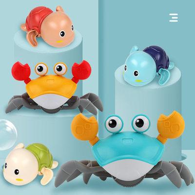 宝宝洗澡沐浴沙滩玩具游泳爬行戏水螃蟹水陆两玩儿童纤绳地摊货源
