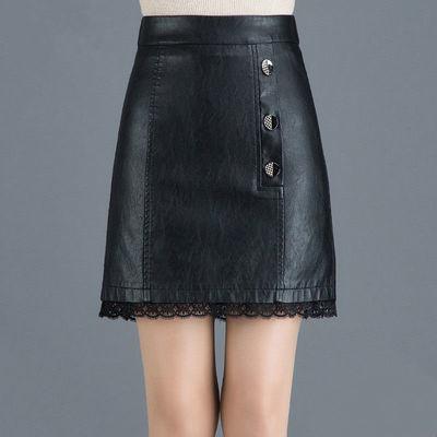 PU皮裙女半身裙秋季2020新款高腰蕾丝边A字包臀裙一步裙显瘦短裙