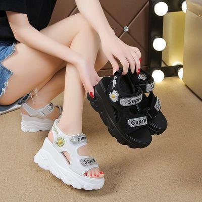 富贵鸟2020新款内增高网红坡跟高跟凉鞋女厚底松糕罗马夏季鞋子