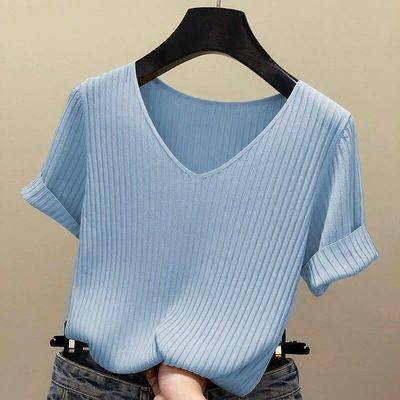 2020新款冰丝针织衫宽松V领打底黑色T恤短袖女纯色ins潮夏季薄款