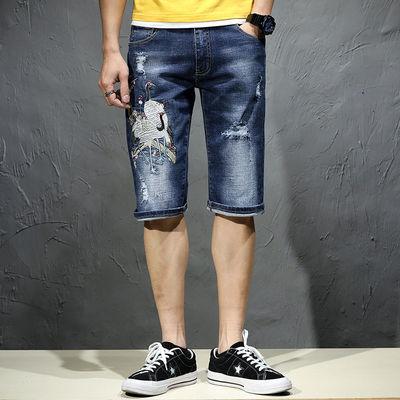 夏季刺绣破洞牛仔短裤男绣花五分裤潮牌弹力马裤个性潮流复古中裤