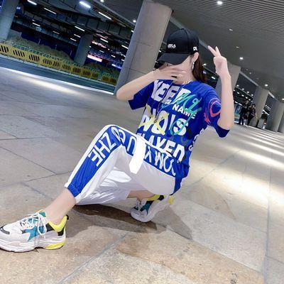 网红2020新款嘻哈风跳舞休闲运动套装女特色时尚曳鬼步舞衣服夏季