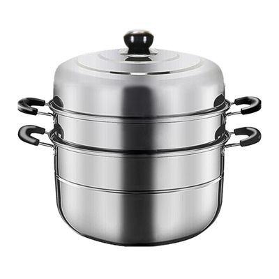 蒸锅不锈钢加厚底家用双层汤锅二/三/四层蒸笼馒头包子26-28-32