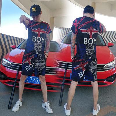 社会精神小伙套装男短袖短裤潮牌BOY运动休闲帅气搭配两件套装夏【7月15日发完】