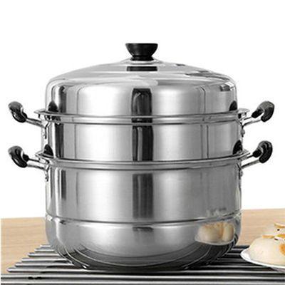 28-32m蒸锅不锈钢三层加厚汤锅火锅3层二2层多层蒸笼家用电磁炉