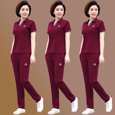 单/套装 妈妈装2020夏季短袖两件套装中老年运动服40岁50大码女装