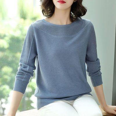 毛衣女套头薄款长袖春装2019新款韩版宽松短款镂空针织打底衫上衣