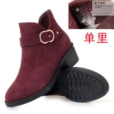 春秋女鞋粗跟真皮马丁靴女士磨砂皮鞋中跟妈妈鞋中年短靴休闲单靴