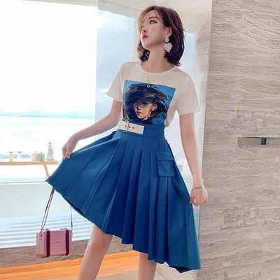 套装女 人物头像圆领T恤+高腰A字百褶半裙 2020韩版高档女装套装