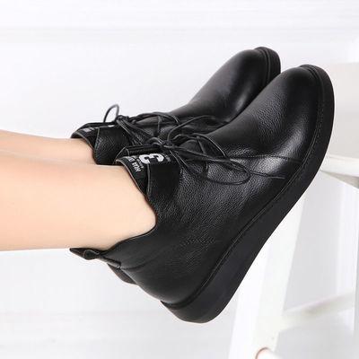 2020秋冬新款真皮女短靴百搭妈妈鞋软平底小短靴保暖休闲加绒女鞋