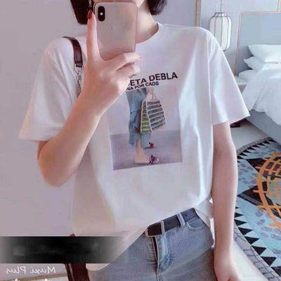 夏装新款印花字母图案短袖T恤简约时尚钉珠休闲女装上衣宽松大码