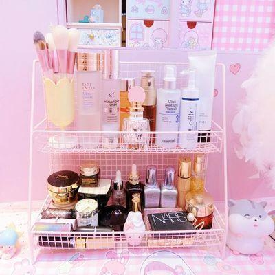 粉色少女心铁艺双层架大容量化妆品收纳柜整理盒宿舍收纳架包邮