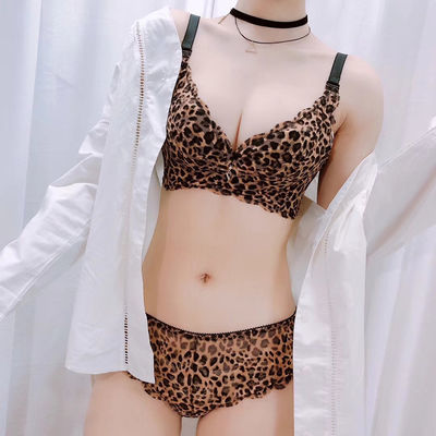 2019无钢圈性感豹纹内衣女套装小胸聚拢薄款加厚胸罩大胸显小美背