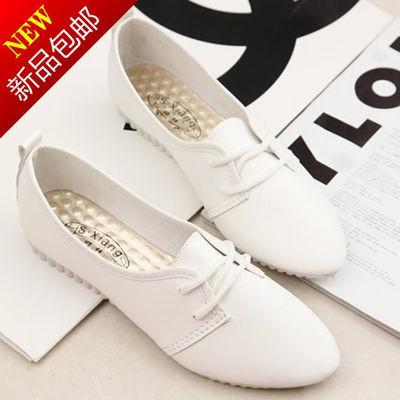 清仓平底尖头小白鞋女韩版休闲时尚单鞋女系带学生女鞋子春秋