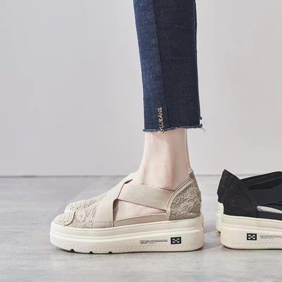渔夫鞋女夏2020新款网红镂空透气厚底松糕鞋懒人防滑一脚蹬凉鞋女