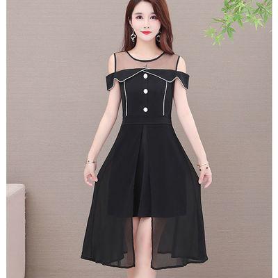大码女装2020夏季韩版胖MM网纱拼接遮肚连衣裙性感洋气减龄女