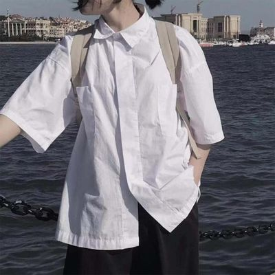 韩风短袖小衬衫女白色学院风港味宽松大码洋气闺蜜姐妹学生班服潮