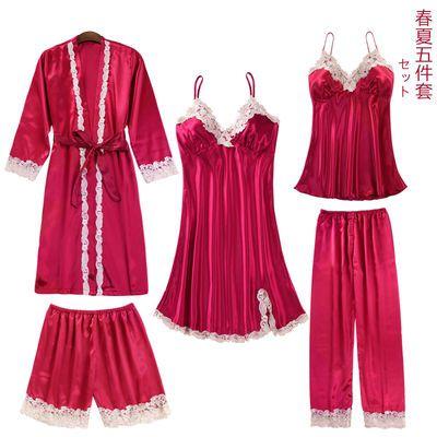 睡衣女五件套春夏冰丝绸性感吊带胸垫睡裙长袖睡袍长裤三四件套