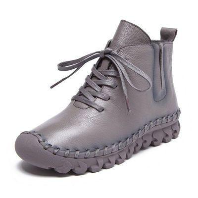 真皮短靴女平底软皮马丁靴手工休闲女鞋纯皮单鞋加绒棉鞋女士皮鞋