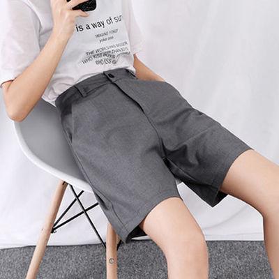 新款复古宽松休闲直筒外穿高腰港味西装五分显瘦薄款阔腿短裤女夏