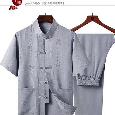 唐装男休闲短袖爸爸套装夏季中老年人宽松汉服中国风爷爷装上衣服