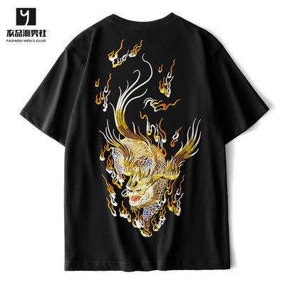 2020夏新款麒麟刺绣T恤男潮中国风 个性宽松大码社会青年纯棉短袖