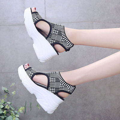 坡跟凉鞋女夏2020新款欧美时尚百搭懒人镂空厚底超高跟鱼嘴罗马鞋