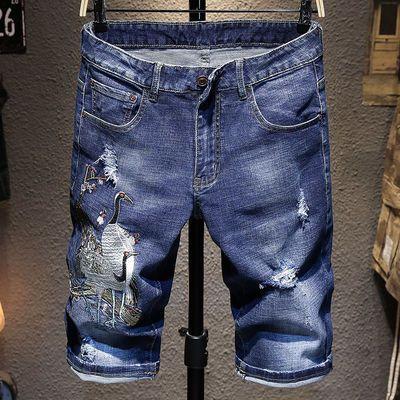 夏季中国风仙鹤刺绣牛仔短裤男士韩版潮流破洞刮烂休闲五分中裤子