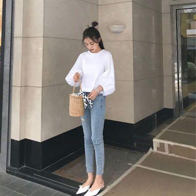 破洞牛仔裤女春夏季韩版学生浅蓝色高腰显瘦弹力紧身九分小脚裤潮
