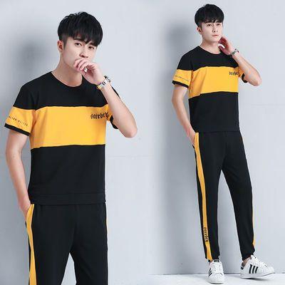 运动套装情侣短袖气质2020新款棉质短袖男士休闲情侣款女运动套装