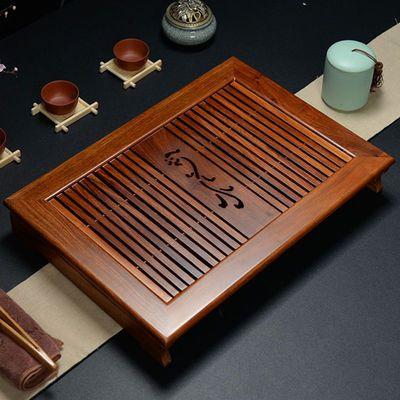 实木茶盘鸡翅木花梨木茶台抽屉储排水式中小号家用茶海托功夫茶具